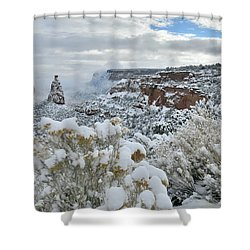 Clouds Break Over Snow Covered Independence Canyon Shower Curtain