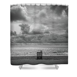 Cloudy Morning Rough Waves Shower Curtain