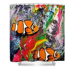 Shower Curtain featuring the painting Clown Fish  by Jennah Lenae