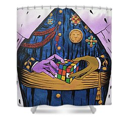 Shower Curtain featuring the painting Co-laboring Royalty by Nathan Rhoads