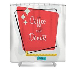 Shower Curtain featuring the digital art Coffee And Donuts- Art By Linda Woods by Linda Woods