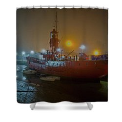 Shower Curtain featuring the photograph Colne Lightship In The Fog by Gary Eason