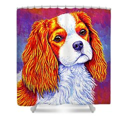 Colorful Cavalier King Charles Spaniel Dog Shower Curtain