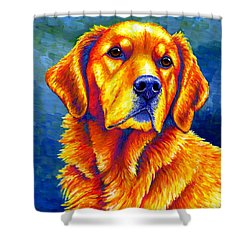 Colorful Golden Retriever Dog Shower Curtain