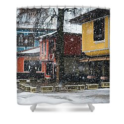 Colorful Koprivshtica Houses In Winter Shower Curtain