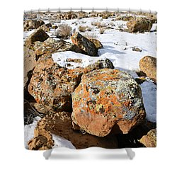 Colorful Lichen Covered Boulders In Book Cliffs Shower Curtain