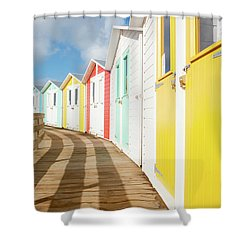 Colourful Bude Beach Huts Shower Curtain