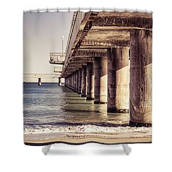 Columns Of Pier In Burgas Shower Curtain