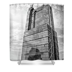 Shower Curtain featuring the photograph Comcast Technology Center - Philadelphia In Black And White by Bill Cannon