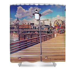 Coney Island Boardwalk Pillow Mural #1 Shower Curtain