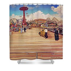 Coney Island Boardwalk Pillow Mural #2 Shower Curtain