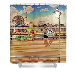 Coney Island Boardwalk Pillow Mural #4 Shower Curtain