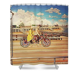 Coney Island Boardwalk Pillow Mural #5 Shower Curtain