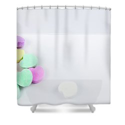 Conversation Hearts On A Notecard Shower Curtain
