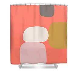 Shower Curtain featuring the mixed media Coral Stones 1- Art By Linda Woods by Linda Woods