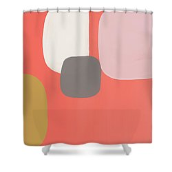 Shower Curtain featuring the mixed media Coral Stones 2- Art By Linda Woods by Linda Woods