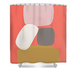 Shower Curtain featuring the mixed media Coral Stones 3- Art By Linda Woods by Linda Woods