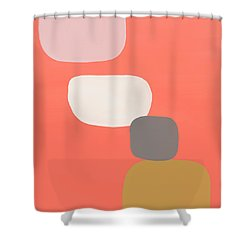 Shower Curtain featuring the mixed media Coral Stones 4- Art By Linda Woods by Linda Woods