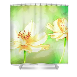 Cosmos Flowers, Bud, Butterfly, Digital Painting Shower Curtain