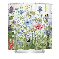 Cottage Garden Flowers Bees Nature Art  Shower Curtain