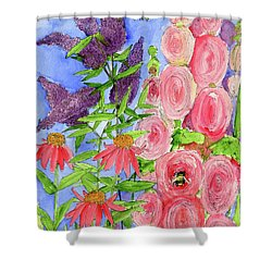 Cottage Garden Hollyhock Bees Blue Skie Shower Curtain