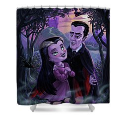 Count And Countess Dracula During Halloween Evening Shower Curtain