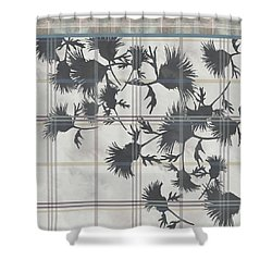 Cream Thistle Plaid Contrast Border Shower Curtain