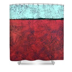 Crimson Earth Meets Pearl Sky Shower Curtain