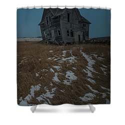 Shower Curtain featuring the photograph Crooked Moon by Aaron J Groen
