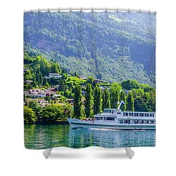 Cruising Lake Lucerne Shower Curtain