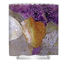 Shower Curtain featuring the mixed media Crystal Stand 14  by Lynda Lehmann