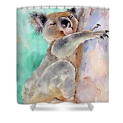 Cuddly Koala Watercolor Painting Shower Curtain