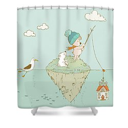 Shower Curtain featuring the painting Cute Little Bear Goes Fishing by Matthias Hauser