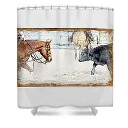 Cutting Horse At Work Shower Curtain