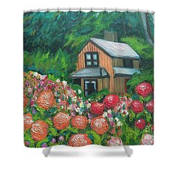 Dahlias In The Woods Shower Curtain