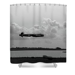 Shower Curtain featuring the photograph Dambusters Lancasters At Abberton Bw Version by Gary Eason