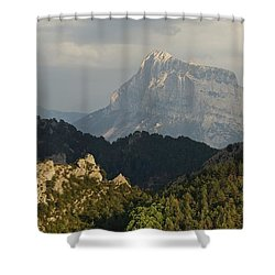 Shower Curtain featuring the photograph Dappled Light On Pena Montanesa by Stephen Taylor