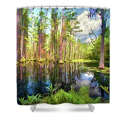 Dazzling Cypress Reflections Ap Shower Curtain