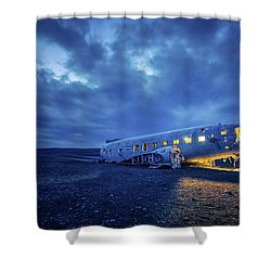 Shower Curtain featuring the photograph Dc-3 Plane Wreck Illuminated Night Iceland by Nathan Bush