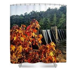 Shower Curtain featuring the photograph De Soto Falls In Autumn by Rachel Hannah