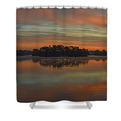 December Sunrise Over Spring Lake Shower Curtain