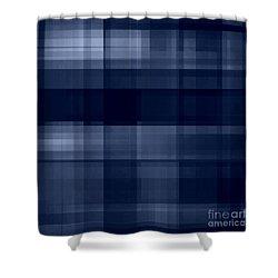 Shower Curtain featuring the digital art Deep Blue Plaid by Rachel Hannah