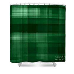Shower Curtain featuring the digital art Deep Green Plaid by Rachel Hannah