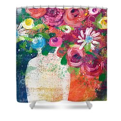 Shower Curtain featuring the mixed media Delightful Bouquet 2- Art By Linda Woods by Linda Woods