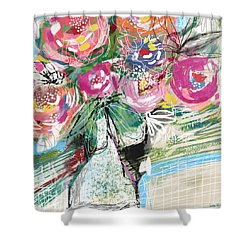 Shower Curtain featuring the mixed media Delightful Bouquet 3- Art By Linda Woods by Linda Woods
