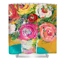 Shower Curtain featuring the mixed media Delightful Bouquet 4- Art By Linda Woods by Linda Woods