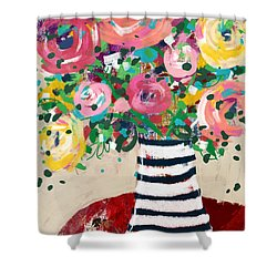 Shower Curtain featuring the mixed media Delightful Bouquet 5- Art By Linda Woods by Linda Woods