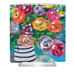 Shower Curtain featuring the mixed media Delightful Bouquet 6- Art By Linda Woods by Linda Woods