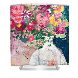 Shower Curtain featuring the mixed media Delightful Bouquet- Art By Linda Woods by Linda Woods
