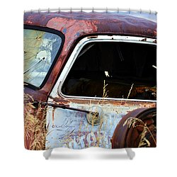 Derelict Truck In Weeds Shower Curtain